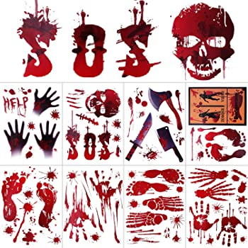 WAASII Halloween Bloody Decorations Window Wall Decals Floor Clings Bloody Handprint Footprint Stickers,Horror PVC Stickers for Halloween Vampire Zombie Party Decorations Supplies