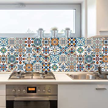 Amazon Com Decorative Tiles Stickers Motril Pack Of 16 Tiles Tile Decals Art For Walls Kitchen Backsplash Bathroom 4 5 X 4 5 Inches Home Improvement