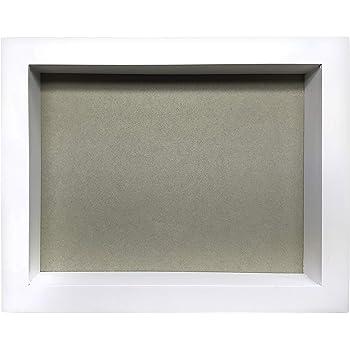 Marco de Fotos Original Tipo Caja, de Madera con Cristal, Cuadro Profundo para meter Objetos de colección: Objeto 3D, Pinzas con Fotos, Flores, medallas, etc. (Blanco, 25 x 20 x 5 cm):
