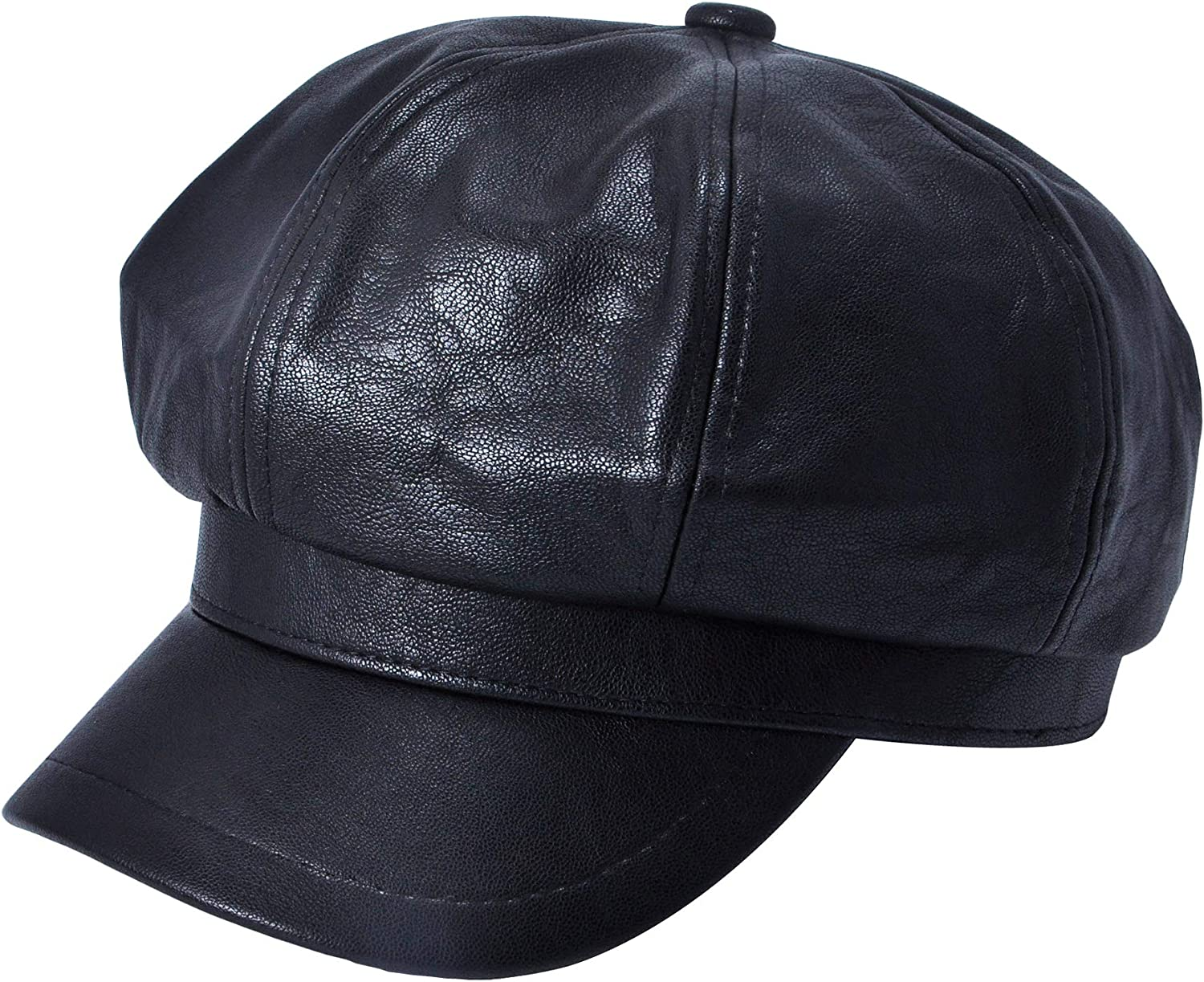 ZLYC Womens PU Leather Newsboy Caps Hat Cabbie Spring new work one after Elegant another for Girls Gatsby