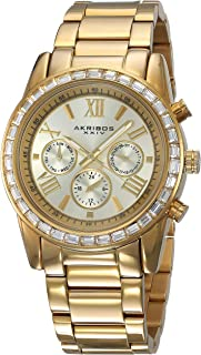 Akribos XXIV Women's Swiss Quartz Swarovski Crystal Bezel With Gold-Tone Dial on Gold-Tone Stainless Steel Bracelet Watch AK943YG