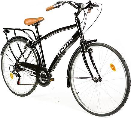 Moma Bikes City Bike  -  Bicicleta Paseo, Unisex, Adulto, Aluminio, 18 Velocidades, Ruedas de 28