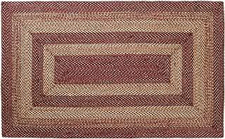 Classic Country Primitive Flooring - Burgundy Tan Jute Red Rug, 5' x 8'