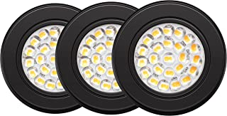 GetInLight Dimmable LED Puck Lights Kit with ETL Listed, Recessed or Surface Mount Design, Soft White 3000K, 12V, 2.5W, Black Finished, (Pack of 3), IN-0113-3-BK