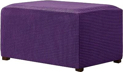 CHUN YI Stretch Ottoman Slipcover Rectangle Storage Stool Cover with Elastic Bottom, Checks Spandex Jacquard Fabric (XX-Large, Violet)