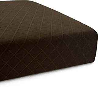 CHUN YI Stretch Polyester and Spandex Rhombus Cushion Slipcovers Multi-Purpose Couch Chair Seat Cushion Cover for 1-Seater Cushion (Chocolate, Chair Cushion)