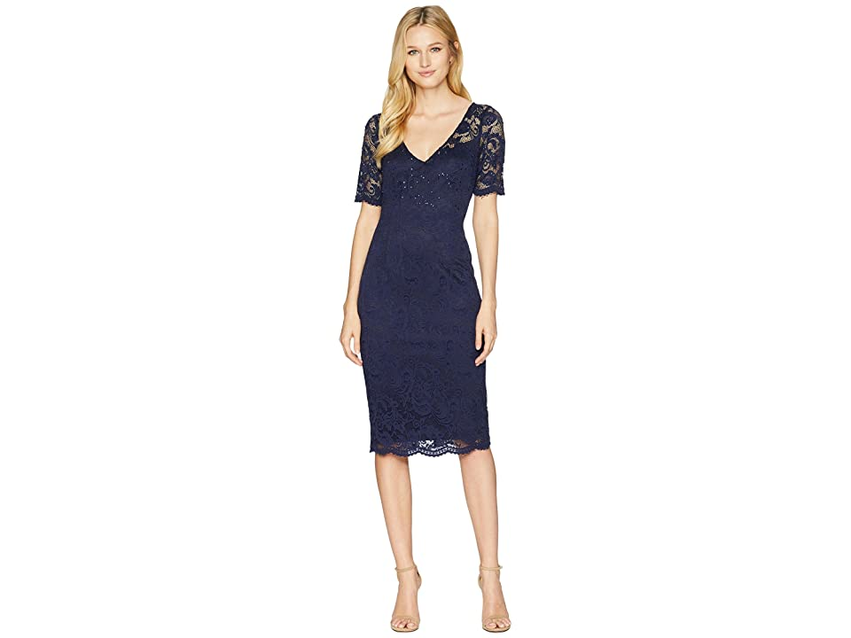 Adrianna Papell Short Sleeve Stretch Lace Cocktail Dress with Scattered Beads (Midnight) Women