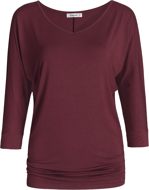Esenchel Women's V-Neck Dolman Top 3/4 Sleeve Drape Shirt