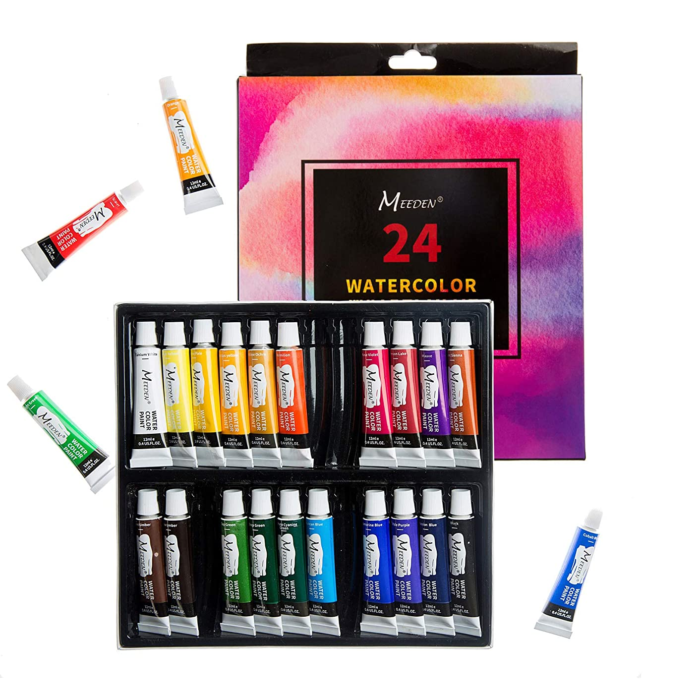 MEEDEN Watercolor Paint, Set of 24 Vibrant Colors in Tubes(24 x 12ml), Premium Painting Kit for Artists/Students/Beginners, Rich Pigments/Vibrant/Non Toxic for Landscape Portrait Paintings