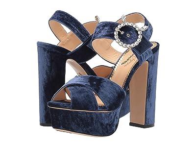 Charlotte Olympia Bejewelled Aristocat (Midnight Blue Velvet) Women
