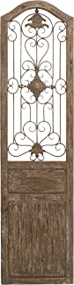 Deco 79 Garden Style Wooden Door with Scrolling Ironwork, 19 by 1 by 72-Inch