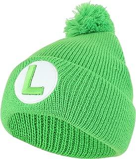 Armycrew Officially Licensed Super Mario Luigi Logo Embroidered Pom Beanie Hat