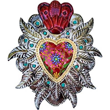 Metal wall art Mexican heart El milagro heart Tin heart Mexican decoration Mexican folk art Tin mirror gift for girlfriend