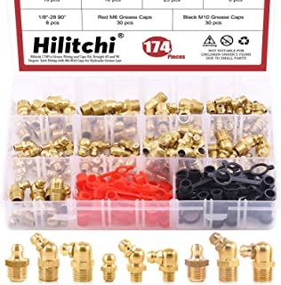 Hilitchi Hydraulic Zerk Grease Fittings Assortment Kit with Grease Zerk Caps SAE-174PCS