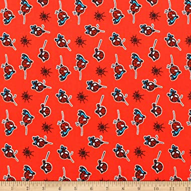 Marvel Spiderman Flannel Red Fabric by the Yard