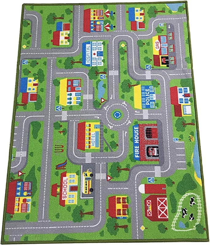 City Street Map Kids Rug With Roads Kids Rug Play Mat With School Hospital Station Bank Hotel Book Store Government Workshop Farm For Boy Girl Nursery Bedroom Playroom Classroom 51 X 75