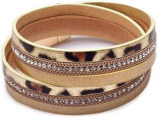 أساور جلد الفهد للنساء في سن المراهقة الفتيات متعدد الطبقات واسعة جلد الفهد طباعة التفاف سوار مجوهرات هدية