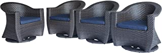 Great Deal Furniture Florence Patio Swivel Chairs, Wicker with Outdoor Cushions, Multi-Brown and Navy Blue (Set of 4)