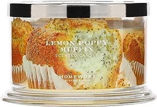 HomeWorx by Harry Slatkin 4 Wick Candle, 18 oz, Lemon Poppy Muffin - HMXC18-AZ-LPM