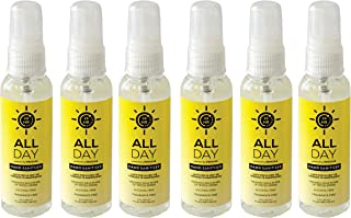 All Day Hand Sanitizer - 24hr Protection - 6-pack Travel Size - Moisturizing, Alcohol-Free, Hypoallergenic, Fragrance-Free