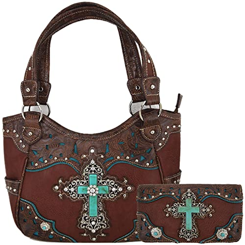 15b76efc9c2 Western Rhinestone Cross Tooled Leather Totes Concealed Carry Purse Handbag  Women Shoulder Bag Wallet Set