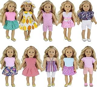 ZITA ELEMENT 10 Sets 18 Inch Poppen Kleding Handgemaakte Mode Outfits Dagelijkse Feestjurken Accessoires voor Amerikaanse ...