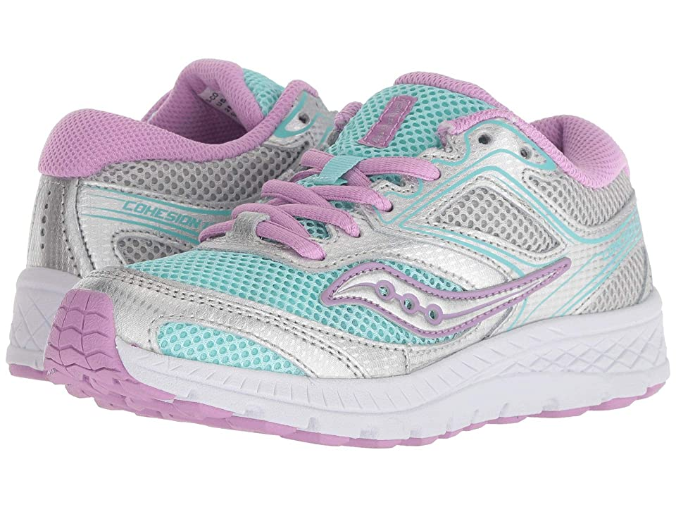 Saucony Kids Cohesion 12 LTT (Little Kid/Big Kid) (Turquiose/Silver) Girls Shoes