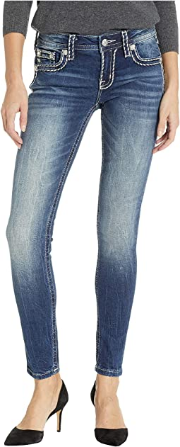 Thick Border Stitch Skinny Jeans in Medium Blue