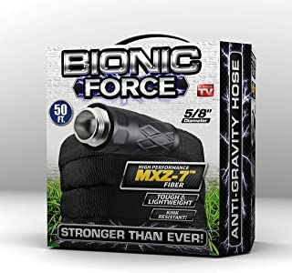Bionic Force Garden Hose – Flexible, Lightweight Heavy-Duty Garden Hose Made of High Performance MXZ-7 Fiber with Crush Resistant Aluminum Fittings - 5/8 in. Dia. x 50 ft, As Seen on TV