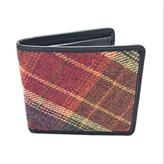 Pell Mell Authentic Classic Red Islay Tweed Leather Embellished Wallet