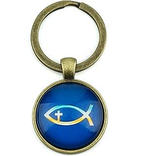 Men's Fish Symbol Keychain, Vintage Cross Key Ring