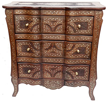 Unique Wood Store Solid Sheesham Wood Multipurpose Chest of Drawers for Home Office Living Room Wooden Storage Floor Standing Cabinet for Kitchen Carving Design with Brass Filling 38 Inches Height