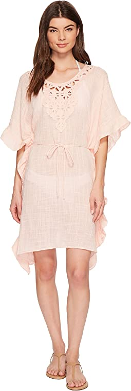 Seafolly Palm Beach Geo Lace Ruffled Kaftan Cover-Up