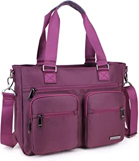 Crest Design Water Repellent Nylon Shoulder Bag Handbag Tablet Laptop Tote as Travel Work and School Bag. Perfect Nursing Tote to Carry Medical, Nursing Supplies (Mulberry)