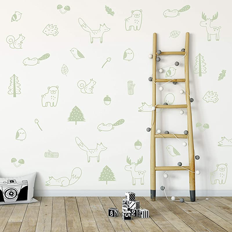 Wall Vinyl Green Forest Animal Decal 40 Pcs Nursery Decor Original Artist Design Adhesive Animals Sticker For Kids Baby Nordic Fox Bear Moose Birds Squirrel Pine Leaf Bedroom Decoration