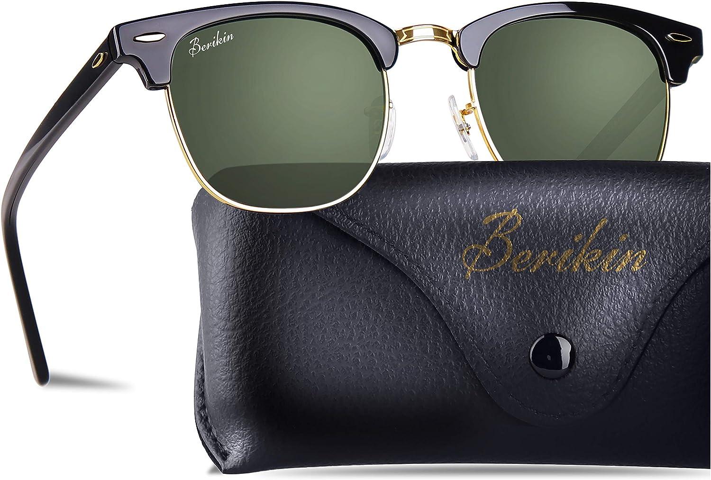 Berikin Vintage Square Style Sunglasses Acetate Frame Glass Lenses For Men Women 100% UV400 Predection