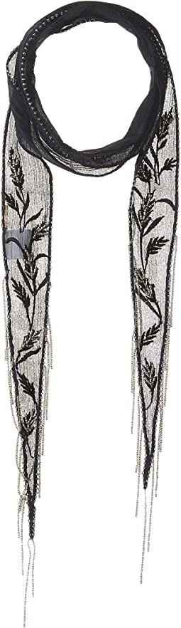 Chiffon Floral Embroidered Long Skinny Scarf