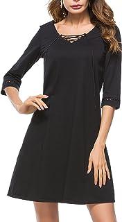 HOMEYEE Women's Elegant V-Neck 3/4 Sleeve Casual Flare Dress T018