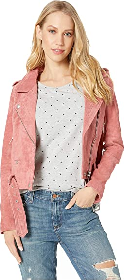 Suede Moto Jacket in Dusty Coral