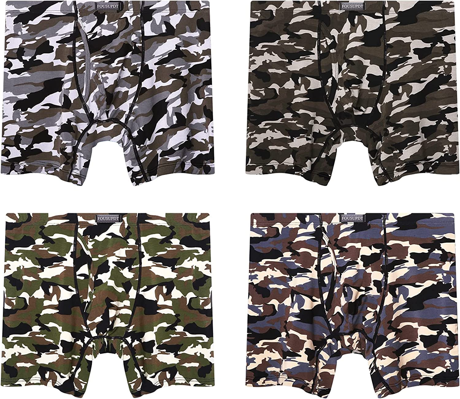 FOUSUPDT Men's 4 Pack Long Leg Underwear Boxer Briefs Open Fly Front with Pouch