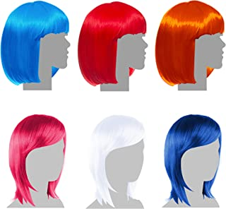 Sterling James Co. 6 Pack Party Wigs - Halloween Neon Colorful Wig Pack - Bachelorette Party Favors, Supplies, and Decorations