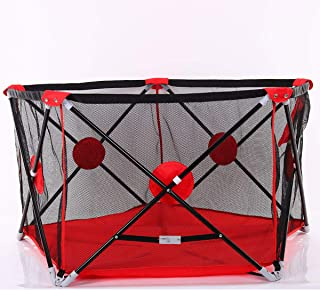 Baby Portable Playpen Kids Playard Activity Center Room Fitted Floor and Washable 5-Panel Safety Protection Care Crawling Folding Fence Toys Portable Indoors Outdoors and Parks Gifts (Red)