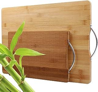 STARVA ST 2 Pcs Planche à Découper en Bambou - Planche a Decouper Cuisine avec Poignées pour la Viande, Légumes, Pain et F...