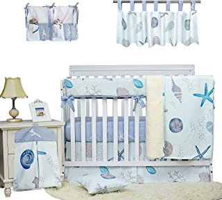 Brandream Baby Boys Crib Bedding Sets Nautical Baby Bedding for Boys Cotton Ocean Beach Theme Crib Sets Animals with Long Rail Cover 9 Piece, 2019 New Style