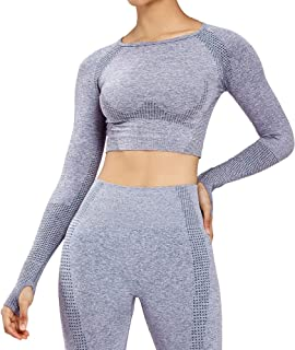 Aoxjox Women's Workout Vital Long Sleeve Seamless Crop Top Gym Sport Shirts