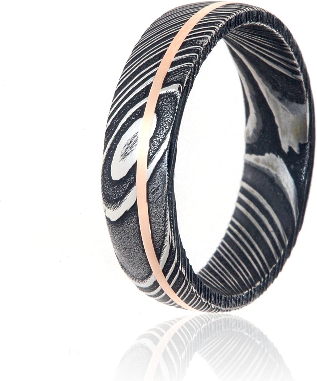 Damascus Steel Wedding Bands USA Made 14k Rose Gold Rings Damascus Rings
