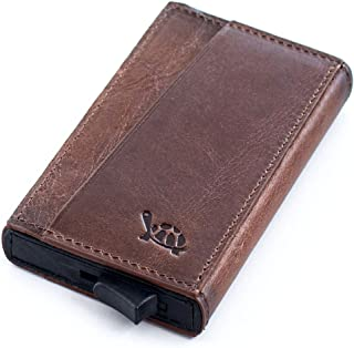 Genuine Leather Small Wallet with Minimalistic Design and RFID Blocking Pop up Credit Card Holder (Vintage Brown Holder)