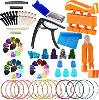 SPROUTER 93 PCS Guitar Accessories Set, Including Guitar Capo, 3 in 1 String Winder, Bridge Pins, Picks, Guitar Strings, F...