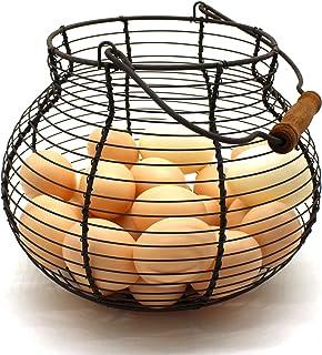 CVHOMEDECO. Cesta para Huevos de Alambre Antiguo con Mango de Madera Primitives Vintage Cesto de recolección Oxidada Dia....