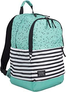 Eastsport Everyday Classic Backpack with Interior Tech Sleeve, Turquoise/Dots/Stripe Print